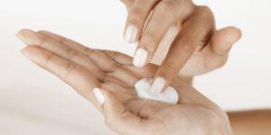 Moisturizer on palm of hand (close-up)
