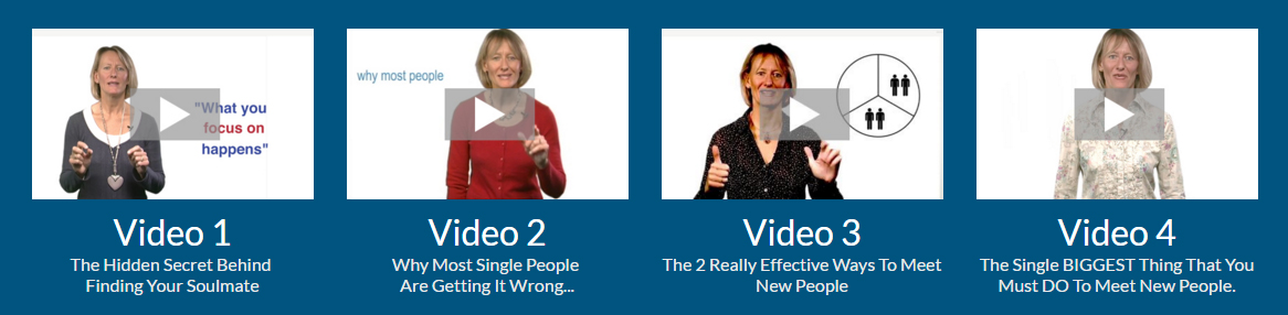 4 Video images for the free dating course