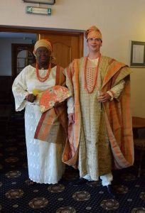 Matt and Ola in traditional Nigerian wedding dress